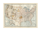 Map of the United States with Inset of Alaska Print
