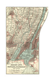 Map of Jersey City, Paterson and Newark Posters