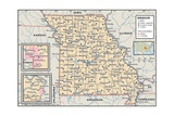 Political Map of Missouri Prints