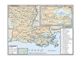 Political Map of Louisiana Prints