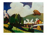 Landscape with Locomotive, 1909 Giclee Print by Wassily Kandinsky