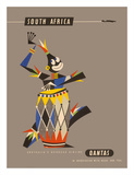 South Africa - Native African Drummer Giclée-tryk af Harry Rogers