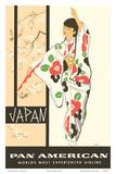 Japan - Japanese Geisha Dancer in Kimono Láminas por A Amspoker