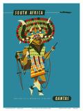 South Africa - African Native Costumed Dancer Kunstdrucke von Harry Rogers