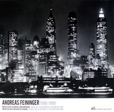 Downtown Manhattann at Night, New York Collectable Print by Andreas Feininger