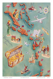 Map of Caribbean Islands - Bahama Islands - U.S. Virgin Islands - Menu Cover Rum Drink List - Don t Konst