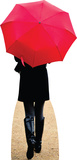 Paris Red Umbrella Lifesize Standup Cardboard Cutouts