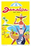 Jamaica - West Indies - Caribbean - Jamaican Beach Fruit Vendor on Donkey Affischer