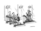 At a gym, Death runs on a treadmill behind three other runners.  - New Yorker Cartoon Premium Giclee Print by Joe Dator