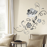 Black and White Flower Scroll Peel and Stick Giant Wall Decals Autocollant mural