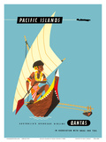 Pacific Islands - Polynesian Outrigger Canoe Print by Harry Rogers