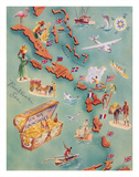 Map of Caribbean Islands - Bahama Islands - U.S. Virgin Islands Giclee Print