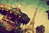 Eiffel Tower and Vintage Carousel, Paris, France. Retro Style Photographic Print by PHOTOCREO Michal Bednarek