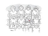 Fans at a football game sit in the stands wearing cheese wedge hats. One m… - New Yorker Cartoon Premium Giclee Print by Julian Rowe