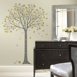 Golden Leaf Tree Peel and Stick Giant Wall Decals Vinilo decorativo