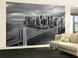 Brooklyn Bridge Black and White Wallpaper Mural Vægplakat