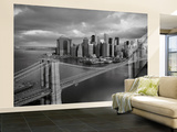 Brooklyn Bridge Black and White Wallpaper Mural Wallpaper Mural