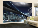 Brooklyn Bridge by Night Wallpaper Mural Vægplakat