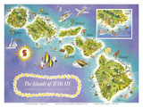 Map of the Islands of Hawaii, USA Affiche par  Dessiaume