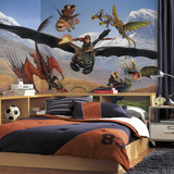 How to Train Your Dragon Chair Rail Prepasted Mural Wall Mural