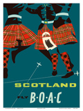 Scotland - Scottish Highland Dancers in Royal Stewart Tartan Kilts Prints