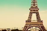 Eiffel Tower Middle Section, the City in the Background, Paris, France. Vintage, Retro Style Print by PHOTOCREO Michal Bednarek
