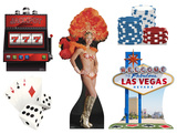 Vegas Party Theme Set Lifesize Standups Cardboard Cutouts