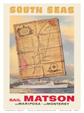 South Seas - Sail Matson - Steamships S.S. Mariposa and S.S. Monterey Posters by Louis Macouillard