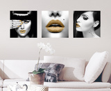 Golden Lips Wall Decal Autocollant