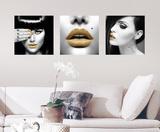 Labbra dorate (sticker murale) Decalcomania da muro