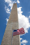 Obelisk with American Flag in National Mall, Washington Monument Photographic Print by  mrcmos