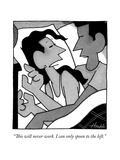 """This will never work. I can only spoon to the left."" - New Yorker Cartoon Premium Giclee Print by William Haefeli"