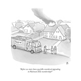 """Before we start, have you folks considered upgrading to Platinum Élite me…"" - New Yorker Cartoon Premium Giclee Print by Paul Noth"