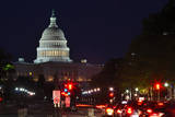 Capitol Building at Night with Street and Car Lights, Washington DC USA Print by  Orhan