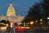 Washington Dc, United States Capitol Building Night View from from Pennsylvania Avenue with Car Lig Photographic Print by  Orhan