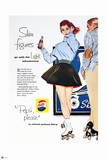 Pepsi - Roller Skating, Slim Figures, 1954 Magazine Ad Prints