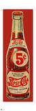 Vintage 1940s 5 Cent Pepsi Bottle Cutout (Red Background) Prints