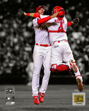 Adam Wainwright & Yadier Molina Game 5 of the 2006 World Series Spotlight Photo