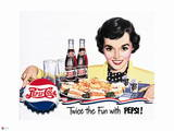 Pepsi - Vintage Pepsi Girl; Twice the Fun 1950 Ad Posters