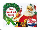 Pepsi - Your Good Old Friend, Santa Christmas with Pepsi, Vintage 1950s Sign Prints
