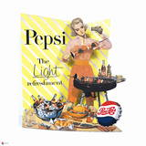 Pepsi - Vintage Pepsi Girl; Light Refreshment Barbeque 1955 Ad Prints