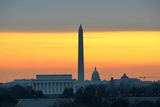 Washington DC City View in Sunrise, including Lincoln Memorial, Monument and Capitol Building Photographic Print by  Orhan