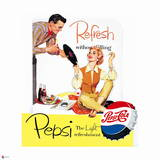 Pepsi - Couple with Record, 1954 Ad Poster