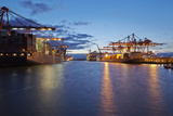 Container Vessel at Terminal in Harbor in the Evening Photographic Print by  schulzhattingen