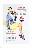 Pepsi - Vintage Pepsi Girl; 1950 Calendar: March and April Prints