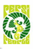 1970s Pepsi People Green Swirl Graphic Posters