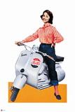 Pepsi - Vintage Pepsi Girl; Motorbike 1950s Cutout Ad Prints