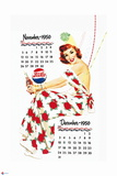 Pepsi - Vintage Pepsi Girl; 1950 Calendar: November and December Prints