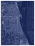 Antique Map of Chicago (blue) Posters by  Blanchard