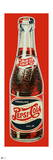 Pepsi - Vintage 1930s Bottle Cutout Sign (Red Background) Posters